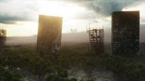 雾的默示录城市 被毁坏的城市的鸟瞰图 默示录概念 超级现实4K动画 向量例证
