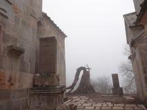 雾的Sevanavank ComplexHaghartsin修道院 库存照片