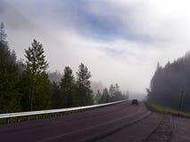 雾高速公路早晨 免版税图库摄影