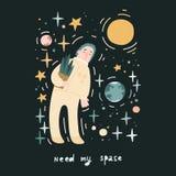 需要我的空间 动画片样式概念海报 手拉的宇航员 皇族释放例证