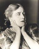 震动状态的妇女  免版税图库摄影