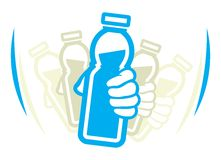 震动瓶在用途前的酸奶 向量例证