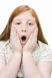 震惊十几岁的女孩 免版税库存图片