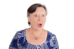 震惊的年长妇女画象 库存照片