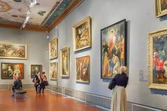 霍尔在普希金艺术状态博物馆在莫斯科,俄罗斯 免版税库存照片