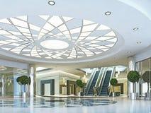 霍尔在Megamall在一个现代样式的购物中心 库存例证