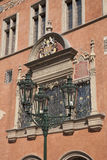 霍尔城镇厅门面;老镇中心;凝视梅斯托Neighborh 库存照片