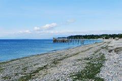 霍特科姆县公园海滩视图  免版税库存照片
