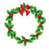 霍莉与弓红色丝带的圣诞节花圈 免版税库存照片