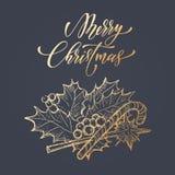 霍莉叶子弓,金棒棒糖圣诞快乐装饰 库存图片