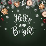 霍莉和明亮的圣诞节贺卡,邀请 装饰框架,横幅 手拉的白垩冷杉分支 库存例证