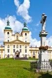 霍莉小山,圣母玛丽亚,镇Olomouc,捷克共和国的访问的教会 在教皇参观的1995 1月保禄二世 图库摄影