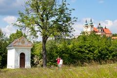 霍莉小山,圣母玛丽亚,镇Olomouc,捷克共和国的访问的教会 在教皇参观的1995 1月保禄二世 免版税库存照片