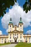 霍莉小山,圣母玛丽亚,镇Olomouc,捷克共和国的访问的教会 免版税库存照片