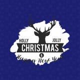 霍莉快活的圣诞节驯鹿背景 向量例证