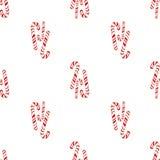 霍莉快活的圣诞快乐无缝的样式棒棒糖 手拉在白色被隔绝的背景的水彩 免版税库存照片