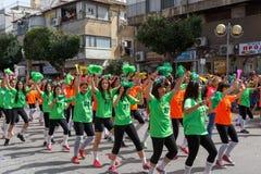 霍隆Adloyada。普珥节狂欢节。以色列 免版税库存照片