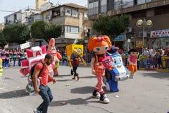 霍隆Adloyada。普珥节狂欢节。以色列 免版税库存图片