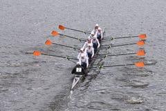 霍巴特专业生的乘员组在查尔斯赛船会人的主要Eights头赛跑  免版税图库摄影