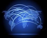 霓虹世界地图雷达 免版税库存图片