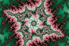 霓虹分数维红色绿色森林星 库存例证