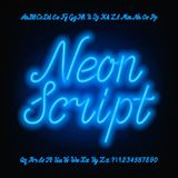 霓虹剧本字母表字体 蓝色霓虹大写和小写字母和数字 库存例证