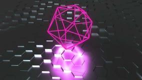 霓虹原子标志与反射,未来派3d的表面上回报背景,二十面体几何形状 向量例证
