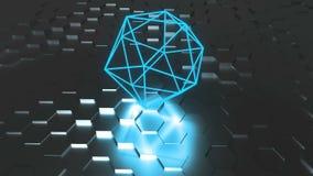 霓虹原子标志与反射,未来派3d的表面上回报背景,二十面体几何形状 皇族释放例证