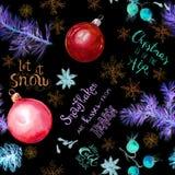 霓虹发光的云杉的树枝、中看不中用的物品、雪花和在上写字文本关于雪和圣诞节 无缝的样式 库存例证