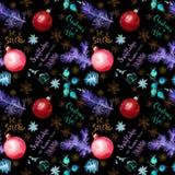 霓虹发光的云杉的树枝、中看不中用的物品、雪花和行情关于雪和圣诞节 无缝黑色的模式 免版税库存图片