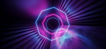 霓虹发光的充满活力的科学幻想小说未来派走廊隧道紫色蓝色桃红色虚拟现实黑暗的巨大的走廊入口具体难看的东西 库存例证