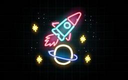 霓虹发光的线,星系概念,墙纸设计 皇族释放例证