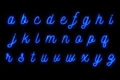 霓虹字体蓝色字母表在词文本系列标志上写字签字  库存照片