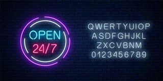 霓虹开放24个小时每星期七天签到与字母表的圈子shaps 日以继夜运作的酒吧 库存例证