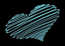 霓虹心脏 霓虹螺纹形成心脏的剪影 库存例证