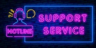 霓虹支助服务 排字的霓虹灯象 接踵而来的购买权 热线 电话支持 发光的标志 被隔绝的传染媒介 皇族释放例证