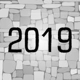 2019霓虹文本岩石砖墙 向量 免版税库存照片