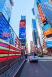 霓虹时常美国旗子正方形, NYC 免版税库存照片