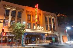 霓虹标志奇摩剧院,亚伯科基,新墨西哥,美国 奇摩Th 库存图片