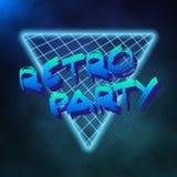 霓虹样式三角Techno背景 外层空间海报 向量例证