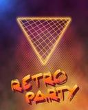 霓虹样式三角Techno背景 外层空间海报Illust 库存例证