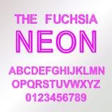 霓虹样式向量字体字母表abc 免版税库存图片