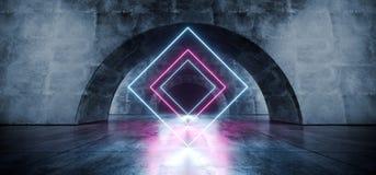 霓虹激光蓝色紫色桃红色卵形圈子隧道走廊具体难看的东西反射性黑暗的走廊地下车库空的霍尔 皇族释放例证