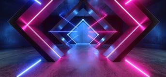 霓虹灯三角科学幻想小说发光的紫色蓝色塑造了萤光减速火箭的现代典雅的外籍人太空飞船黑暗的地下走廊 皇族释放例证