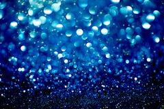 霓虹灯创造的蓝色bokeh背景 免版税库存照片