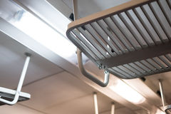 霓虹灯和行李舱在火车内部 库存照片