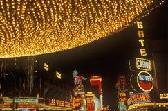 霓虹灯在晚上,街市,拉斯维加斯, NV 免版税库存图片