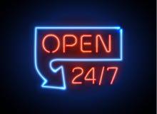 霓虹灯广告打开24 7轻的传染媒介背景 免版税库存照片