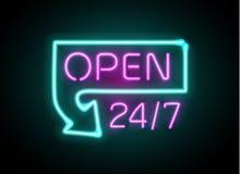 霓虹灯广告打开24 7轻的传染媒介背景 免版税库存图片