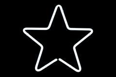 霓虹灯广告星形白色 库存图片